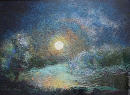 Пейзаж ручной работы. Ярмарка Мастеров - ручная работа. Купить Картина из шерсти. Лунный покой.. Handmade. Тёмно-синий, ночь