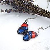Украшения handmade. Livemaster - original item Transparent Pendant Blue with Red Butterfly Epoxy Resin Jewelry. Handmade.