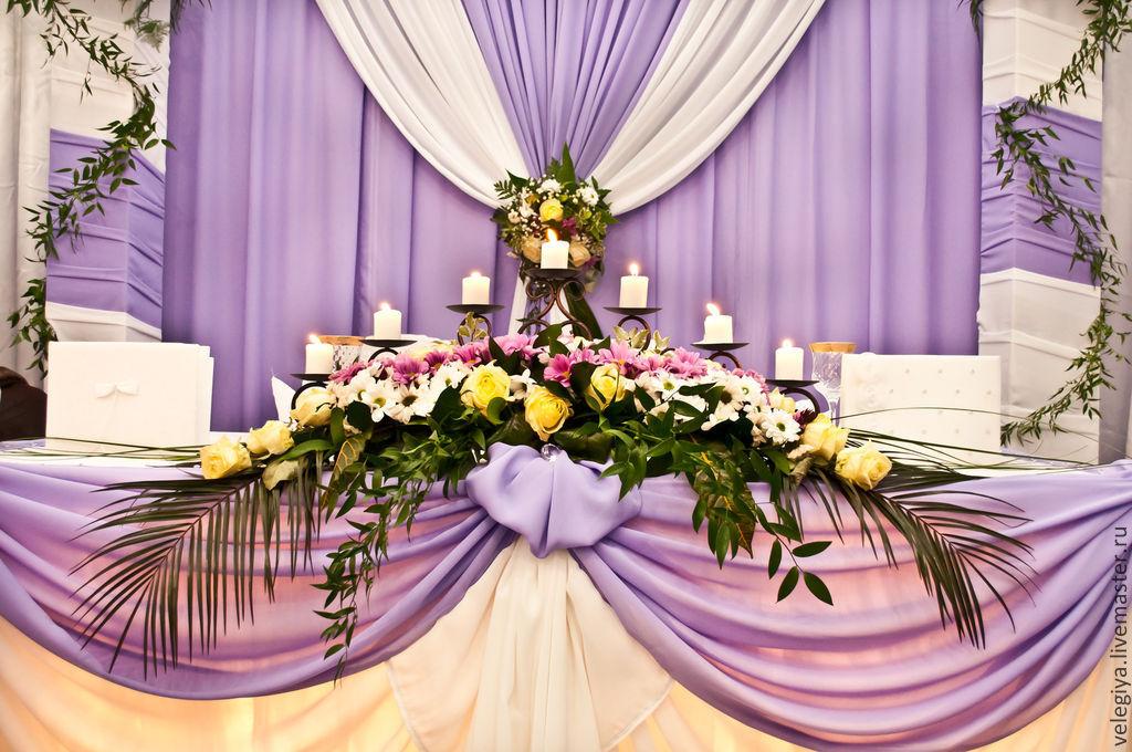 Свадебные столы в фиолетовом цвете
