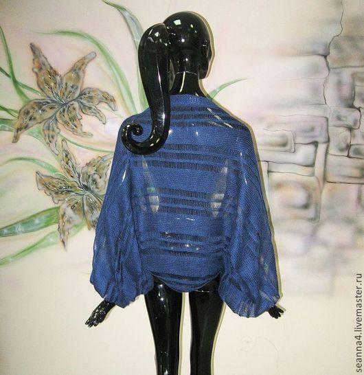 """Болеро, шраг ручной работы. Ярмарка Мастеров - ручная работа. Купить Шраг-болеро безразмерный """"Тончайшая паутинка синий"""" в разных цветах. Handmade."""