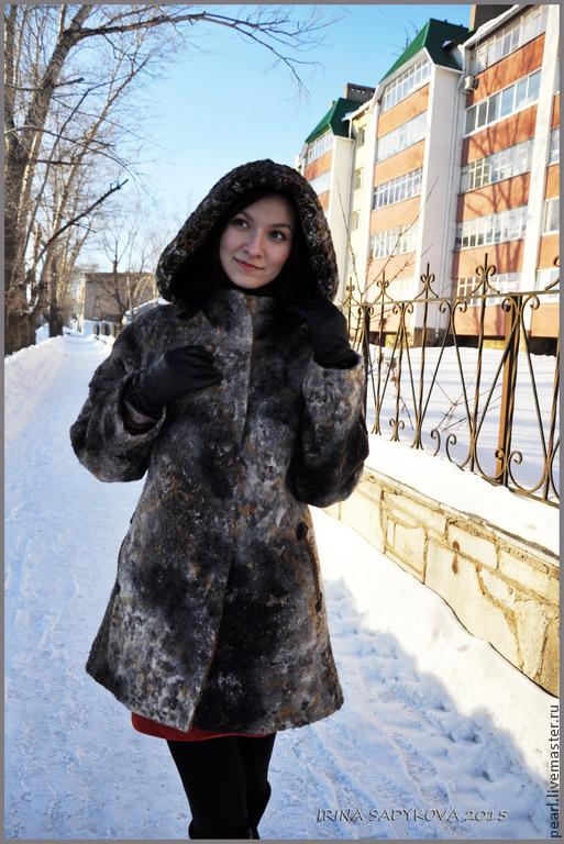 """Верхняя одежда ручной работы. Ярмарка Мастеров - ручная работа. Купить Пальто """"Ночное небо"""". Handmade. Разноцветный, пальто с капюшоном"""
