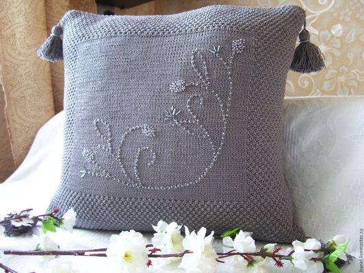 Текстиль, ковры ручной работы. Ярмарка Мастеров - ручная работа. Купить Подушка декоративная(наволочка). Handmade. Темно-серый, красивая подушка