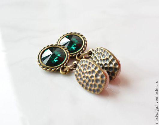 клипсы , серьги , кристаллы Сваровски , зеленые клипсы , украшение на выход , бижутерия