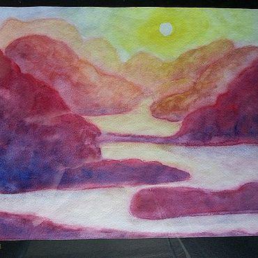 Картины и панно ручной работы. Ярмарка Мастеров - ручная работа Картина акварелью. Горный пейзаж. Handmade.