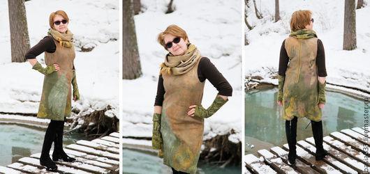 Платья ручной работы. Ярмарка Мастеров - ручная работа. Купить Платье - сарафан валяный. Handmade. Абстрактный, платье на заказ, декор