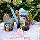Watering Сans handmade. Livemaster - handmade. Buy Lake 'Country'+ pots as a gift.Decoupage, watering can decoupage