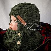 """Работы для детей, ручной работы. Ярмарка Мастеров - ручная работа Комплект для мальчика """" Благородно зеленый """" зимний , шапка , воротник. Handmade."""
