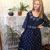 Одежда ручной работы. Ярмарка Мастеров - ручная работа Льняное платье Индиго. Handmade.