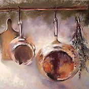 Картины и панно handmade. Livemaster - original item Painting for the kitchen still Life with dishes (red yellow olive copper). Handmade.