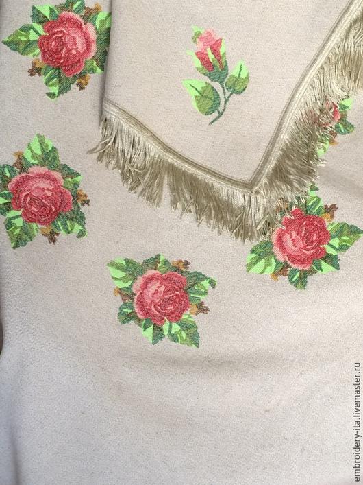 """Текстиль, ковры ручной работы. Ярмарка Мастеров - ручная работа. Купить Скатерть льняная с вышивкой """"Розы"""". Handmade. Скатерть"""