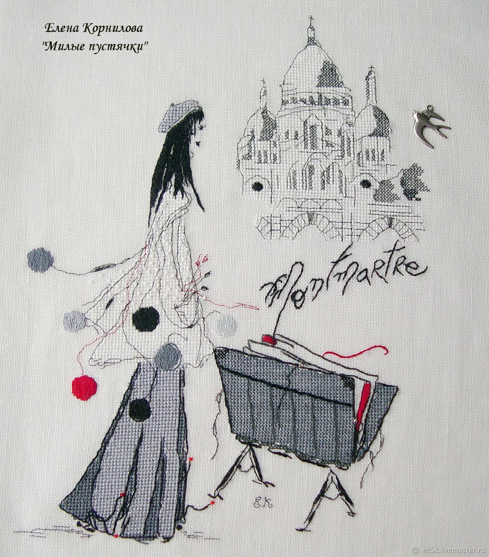 """Вышитая картина """"Будни художника.  Зарисовка с Monmartre"""", Картины, Санкт-Петербург,  Фото №1"""