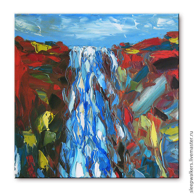 """Водопад"" 40х40 см картина маслом недорого мастихином пейзаж, Картины, Санкт-Петербург,  Фото №1"