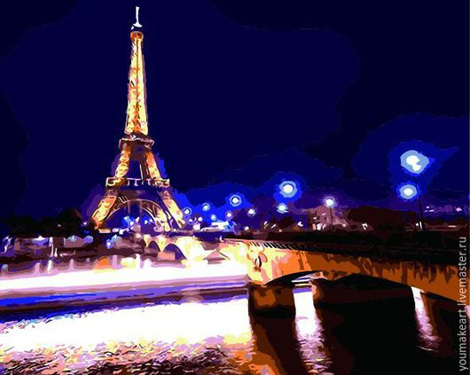 """Город ручной работы. Ярмарка Мастеров - ручная работа. Купить Картина по номерам """"Ночной Париж"""". Handmade. Комбинированный, раскрашивание по номерам"""