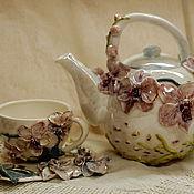 """Чайник и чайная пара """"Орхидеи"""""""