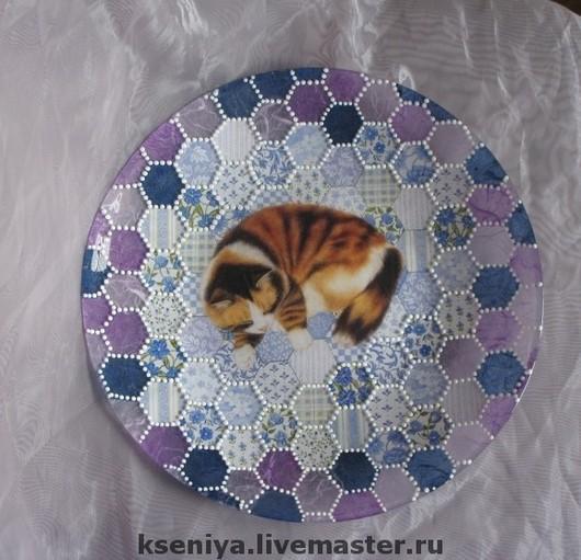 Декоративная посуда ручной работы. Ярмарка Мастеров - ручная работа. Купить Декоративная тарелка  Настенная тарелка. Тарелка на стену Кошка. Handmade.