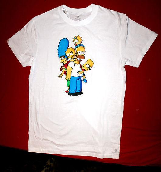 Футболки, майки ручной работы. Ярмарка Мастеров - ручная работа. Купить Симпсоны - футболка. Handmade. Симпсоны, персонажи мультфильмов, хлопок