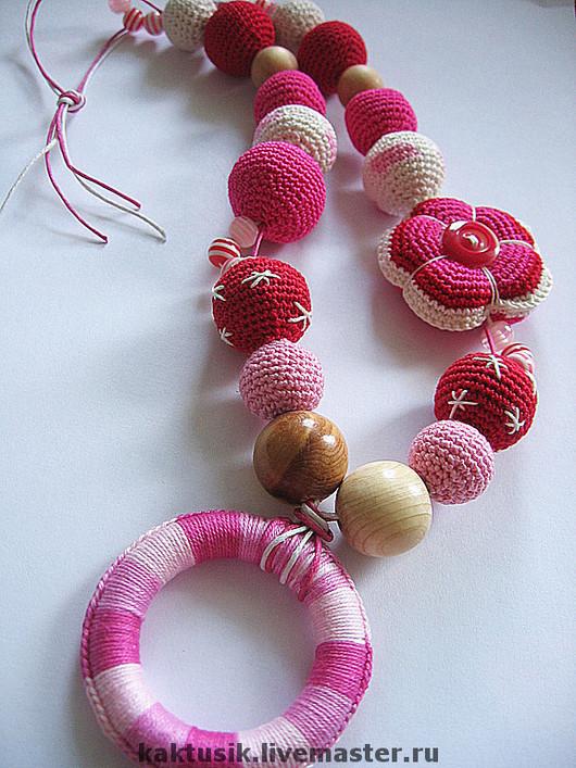 """Слингобусы ручной работы. Ярмарка Мастеров - ручная работа. Купить Слингобусы """"Для девочки"""". Handmade. Слингобусы, розовый, вязаные бусы"""