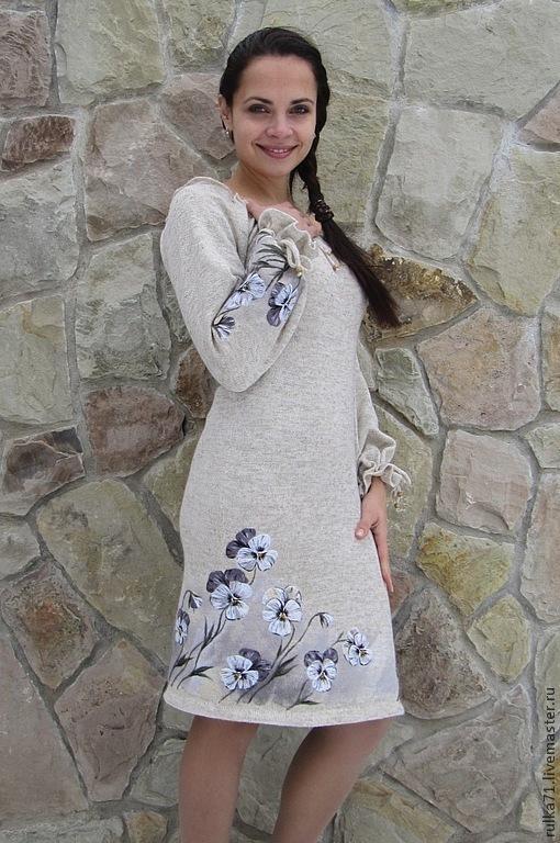 """Платья ручной работы. Ярмарка Мастеров - ручная работа. Купить Платье из льна """" Виола"""". Handmade. Белый, анютки"""