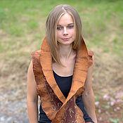 Аксессуары handmade. Livemaster - original item Felted scarf - Golden brown. Handmade.