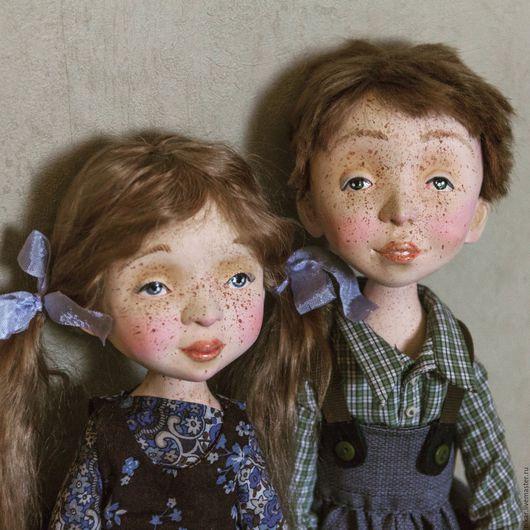 Коллекционные куклы ручной работы. Ярмарка Мастеров - ручная работа. Купить Куклы Полина и Кеша, подвижные будуарные. Handmade. рыжики