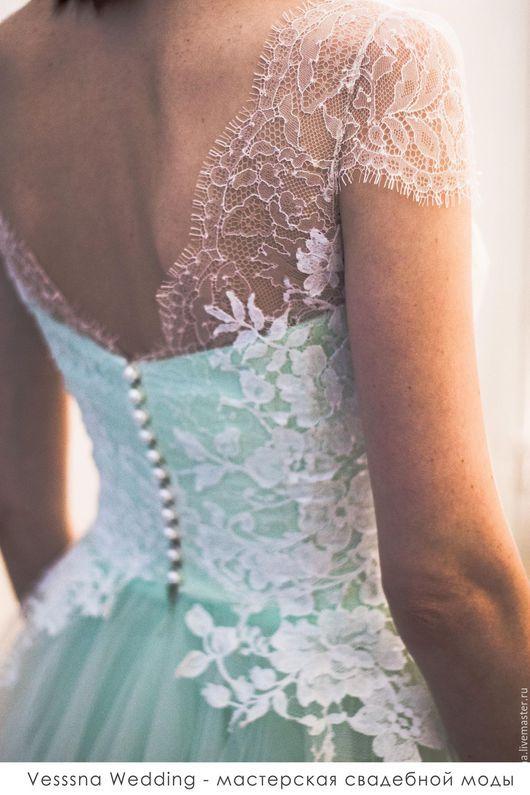 Одежда и аксессуары ручной работы. Ярмарка Мастеров - ручная работа. Купить Мятное свадебное платье. Handmade. Свадебное платье