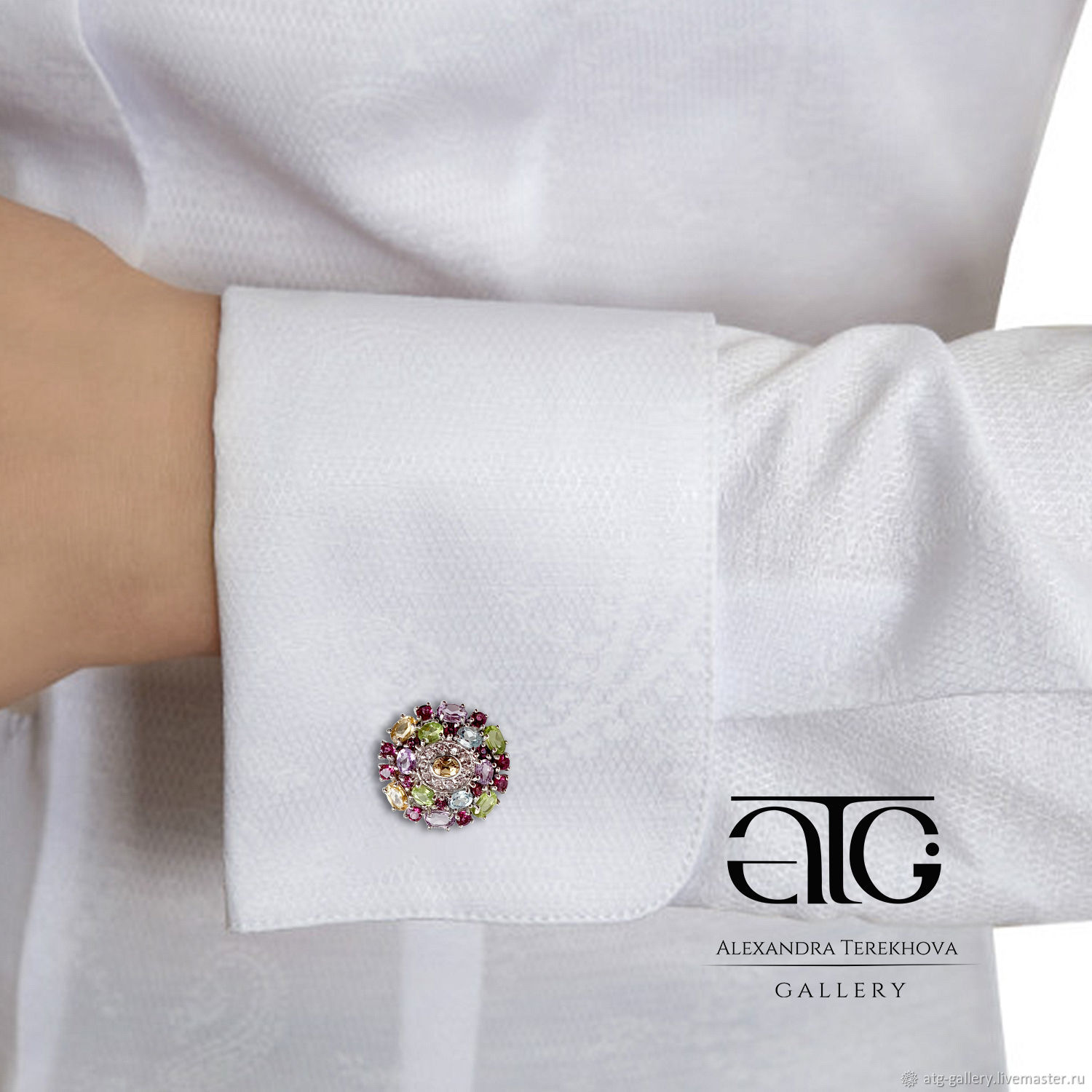 Women's cufflinks with semi-precious stones. 925 sterling silver, Cuff Links, Moscow,  Фото №1