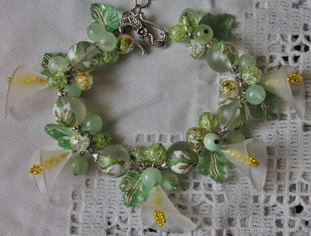 Bracelet with Japanese beads tensha, onyx, quartz Calla, Bead bracelet, Krasnoyarsk,  Фото №1