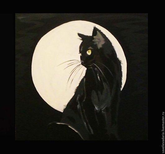 Животные ручной работы. Ярмарка Мастеров - ручная работа. Купить Лунная кошечка.. Handmade. Разноцветный, ночь, луна, кошка