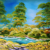 Картины и панно handmade. Livemaster - original item Summer Mirage Original oil painting Landscape in handmade. Handmade.
