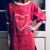 Одежда ручной работы. Ярмарка Мастеров - ручная работа Коралловое льняное платье со светлыми манжетами. Handmade.