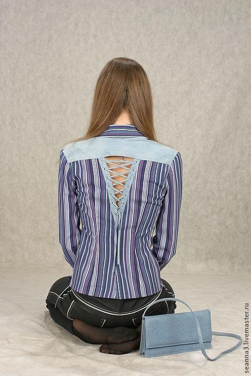 """Блузки ручной работы. Ярмарка Мастеров - ручная работа. Купить Блузка-рубашка """"С джинсовой шнуровкой"""" из полосатой вискозы стрейч. Handmade."""
