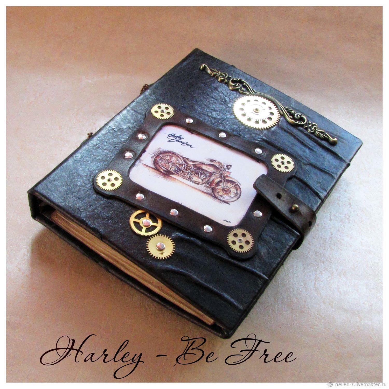 Leather diary 'Harley Davidson - Be Free' sketchbook, Sketchbooks, Stavropol,  Фото №1