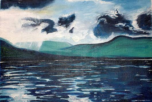 Пейзаж ручной работы. Ярмарка Мастеров - ручная работа. Купить Картина  Таймырский пейзаж (масло,холст). Handmade. Морская волна
