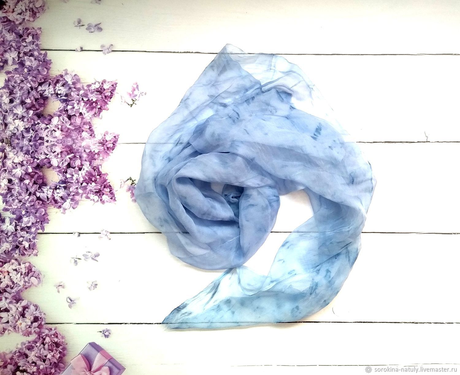Summer handkerchief forget-Me-not, a light handkerchief on the neck, Shawls1, Moscow,  Фото №1