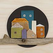 """Картины и панно ручной работы. Ярмарка Мастеров - ручная работа Панно настенное """"Ночное солнце"""" - подарок из дерева, настенный декор. Handmade."""