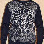 """Одежда ручной работы. Ярмарка Мастеров - ручная работа Cвитер мужской """"Тигр"""". Handmade."""
