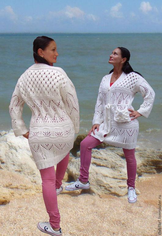 """Пиджаки, жакеты ручной работы. Ярмарка Мастеров - ручная работа. Купить Вязаный жакет """"Ажурный уют"""". Handmade. Белый"""