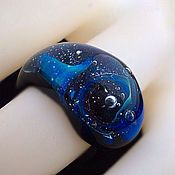 Украшения handmade. Livemaster - original item Ring lampwork Cosmic galaxy 4. Handmade.