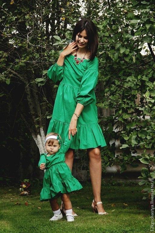 """Платья ручной работы. Ярмарка Мастеров - ручная работа. Купить Одинаковые платья для мамы и дочки """"Маргарита"""", комплект. Handmade. Зеленый"""