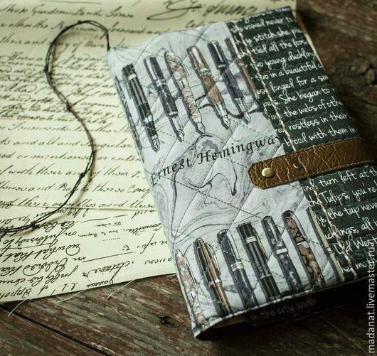 """Обложки ручной работы. Ярмарка Мастеров - ручная работа. Купить Обложка для  книги или ежедневника """"дневник писателя"""". Handmade. Серый"""