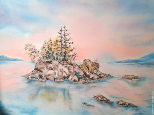 Батик картина `Коралловый рассвет`, шелк 100%. Авторский батик Марины Маховской.