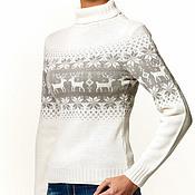 """Одежда ручной работы. Ярмарка Мастеров - ручная работа Свитер """"норвежские олени"""" белый. Handmade."""