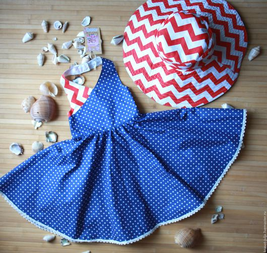 Одежда для девочек, ручной работы. Ярмарка Мастеров - ручная работа. Купить Детский сарафан и шляпа в морском стиле.. Handmade. Синий