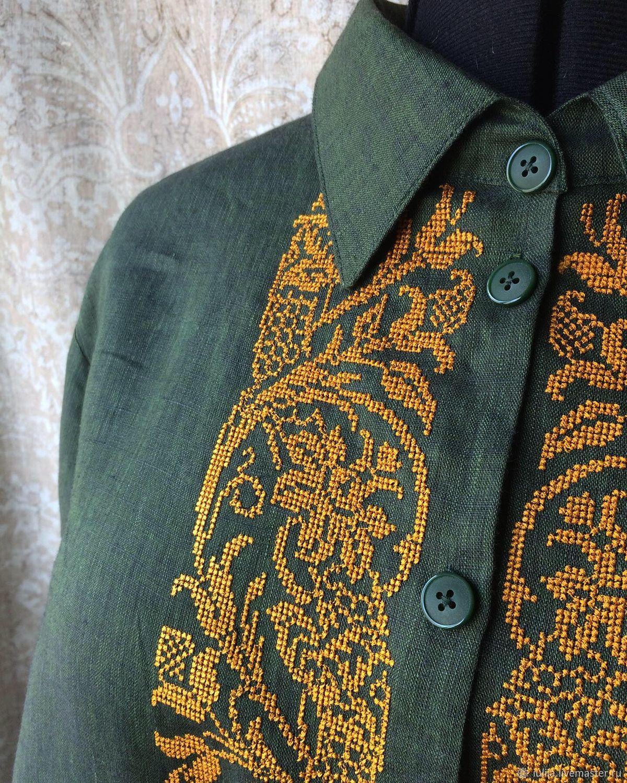 """Льняная рубашка  с вышивкой """"Хвоя и подсолнечник"""", Платья, Новосибирск,  Фото №1"""