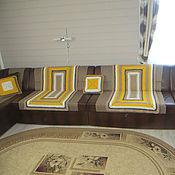 Для дома и интерьера ручной работы. Ярмарка Мастеров - ручная работа Покрывало на диван (5 предметов) – «Солнечная геометрия». Handmade.