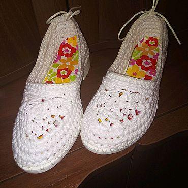 Обувь ручной работы. Ярмарка Мастеров - ручная работа Туфли женские вязаные летние. Handmade.