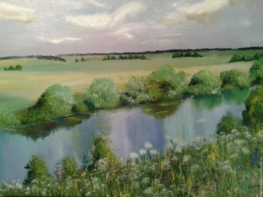 Пейзаж ручной работы. Ярмарка Мастеров - ручная работа. Купить Летом у реки. Handmade. Зеленый, пейзаж маслом, река