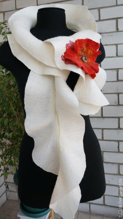 Шарфы и шарфики ручной работы. Ярмарка Мастеров - ручная работа. Купить шарф Мак валяный. Handmade. Маки, шарфик