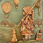 """Картины и панно ручной работы. Ярмарка Мастеров - ручная работа """"Ловцы"""" барельеф, папье-маше. Handmade."""