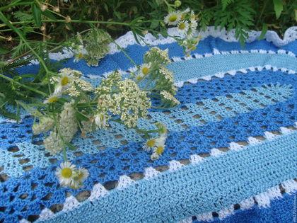 Текстиль, ковры ручной работы. Вязаная накидка на сиденье